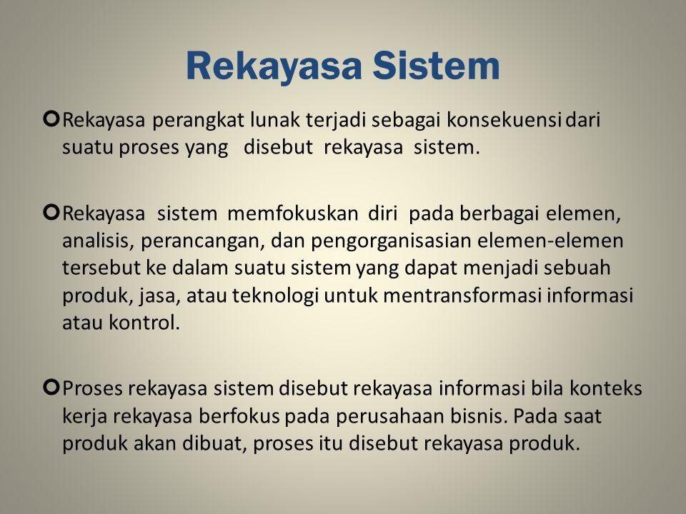 Rekayasa Sistem Rekayasa perangkat lunak terjadi sebagai konsekuensi dari suatu proses yang disebut rekayasa sistem. Rekayasa sistem memfokuskan diri