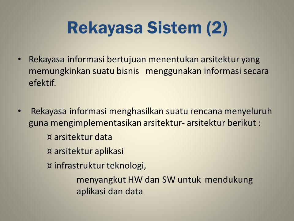 Rekayasa Sistem (2) Rekayasa informasi bertujuan menentukan arsitektur yang memungkinkan suatu bisnis menggunakan informasi secara efektif. Rekayasa i