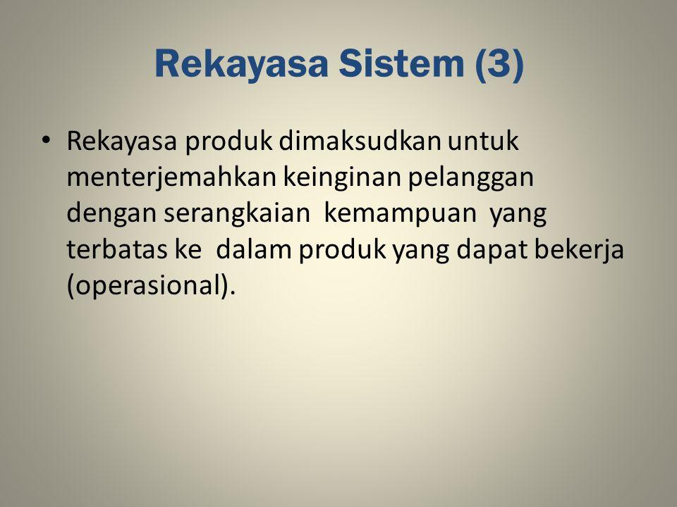 Rekayasa Sistem (3) Rekayasa produk dimaksudkan untuk menterjemahkan keinginan pelanggan dengan serangkaian kemampuan yang terbatas ke dalam produk ya