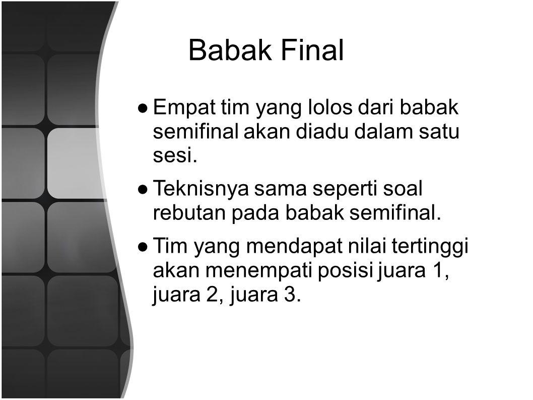 Babak Final ●Empat tim yang lolos dari babak semifinal akan diadu dalam satu sesi.