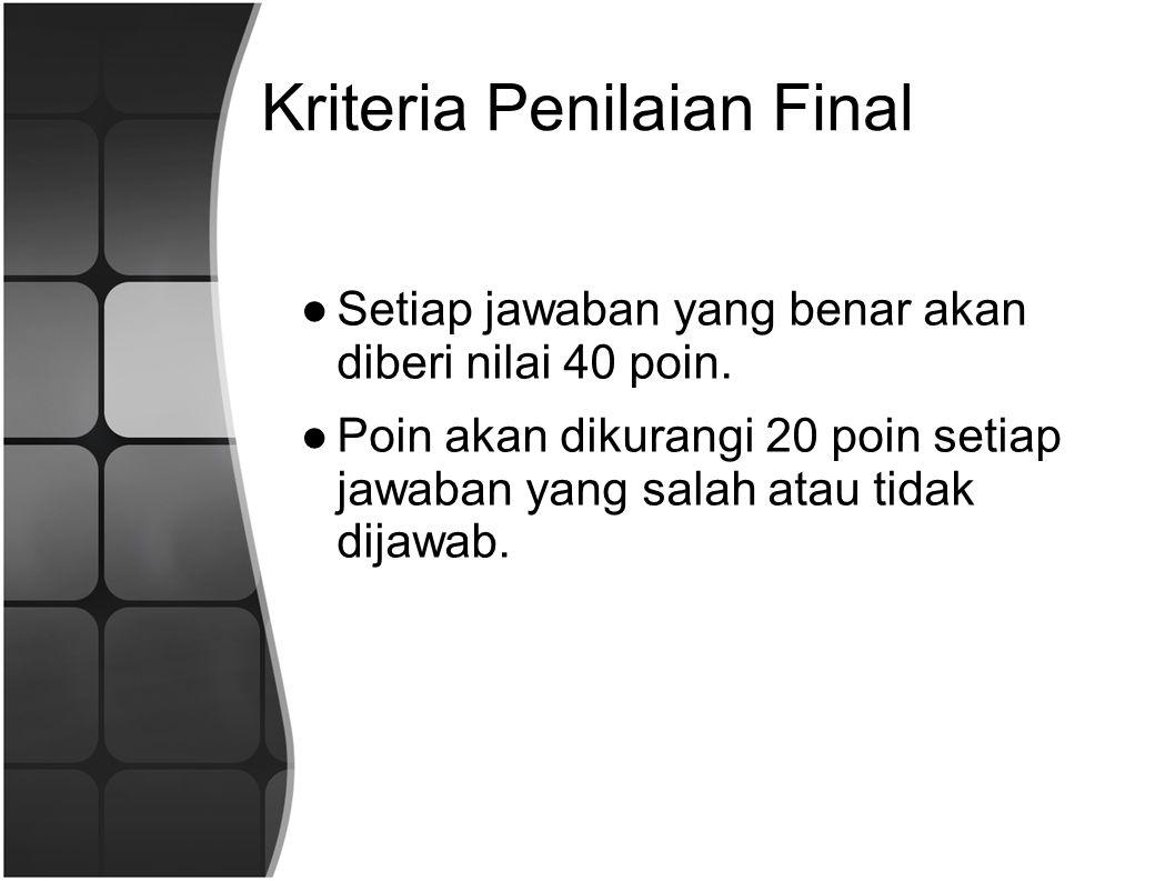 Kriteria Penilaian Final ●Setiap jawaban yang benar akan diberi nilai 40 poin.