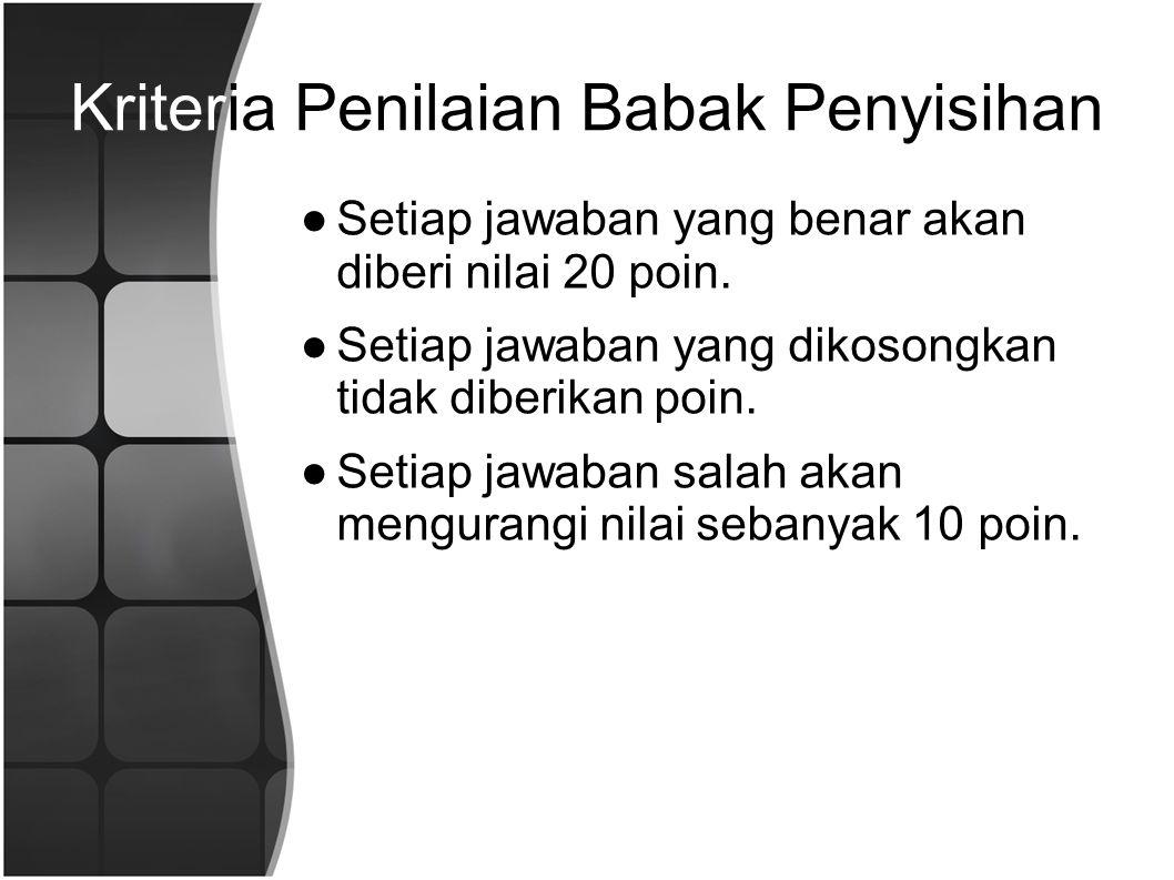 Kriteria Penilaian Babak Penyisihan ●Setiap jawaban yang benar akan diberi nilai 20 poin.