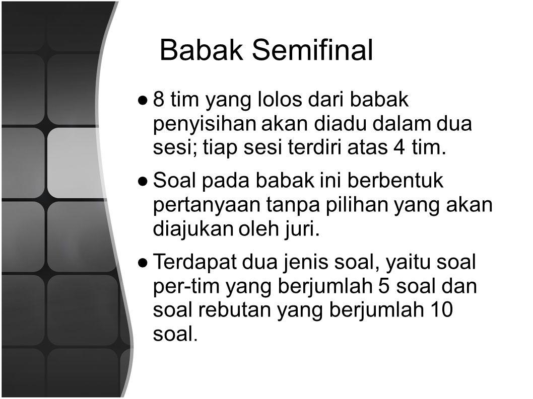 Babak Semifinal ●8 tim yang lolos dari babak penyisihan akan diadu dalam dua sesi; tiap sesi terdiri atas 4 tim.