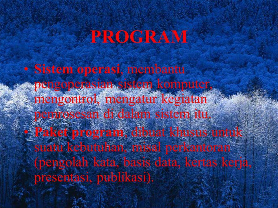 PROGRAM Sistem operasi, membantu pengoperasian sistem komputer, mengontrol, mengatur kegiatan pemrosesan di dalam sistem itu. Paket program, dibuat kh