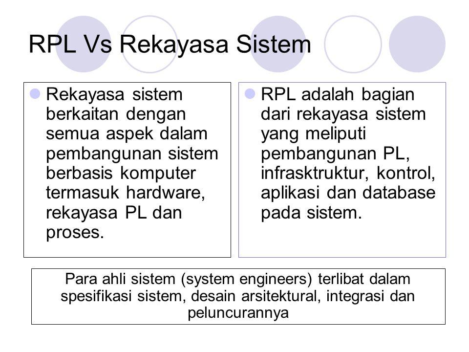 RPL Vs Rekayasa Sistem Rekayasa sistem berkaitan dengan semua aspek dalam pembangunan sistem berbasis komputer termasuk hardware, rekayasa PL dan pros