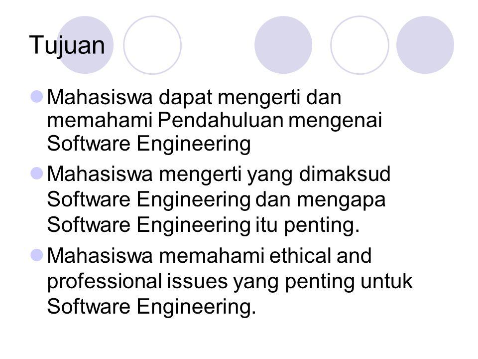 Tujuan Mahasiswa dapat mengerti dan memahami Pendahuluan mengenai Software Engineering Mahasiswa mengerti yang dimaksud Software Engineering dan menga