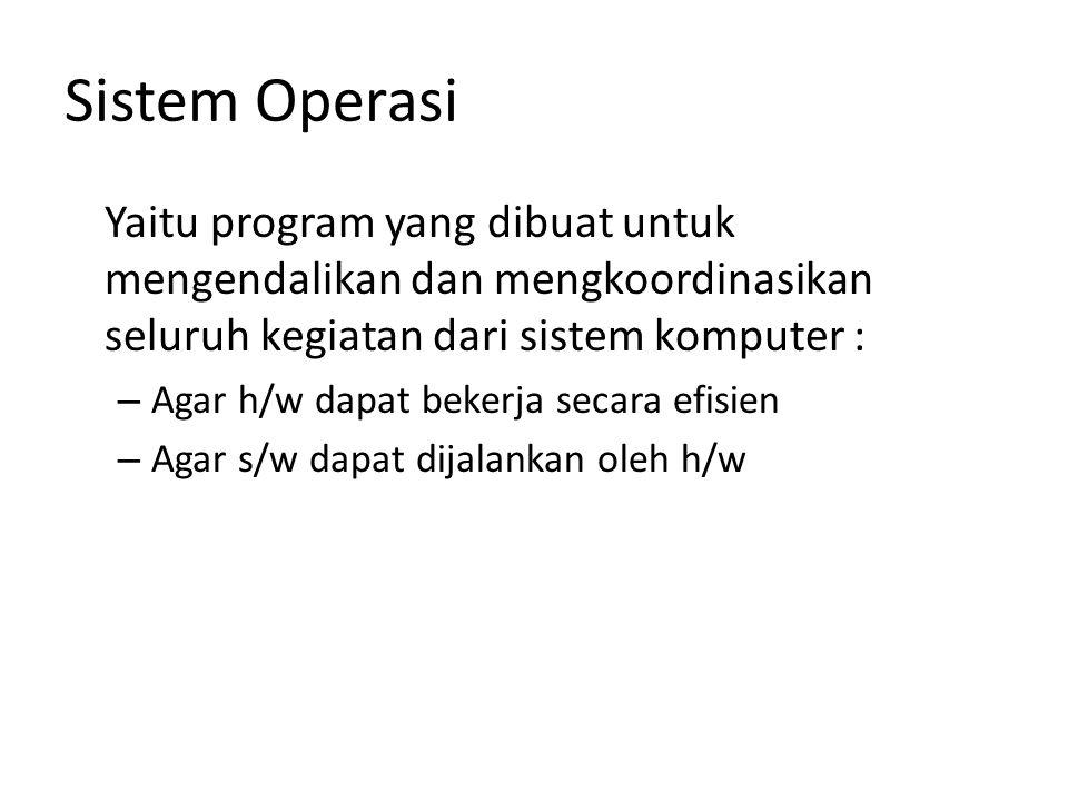 Sistem Operasi Yaitu program yang dibuat untuk mengendalikan dan mengkoordinasikan seluruh kegiatan dari sistem komputer : – Agar h/w dapat bekerja se