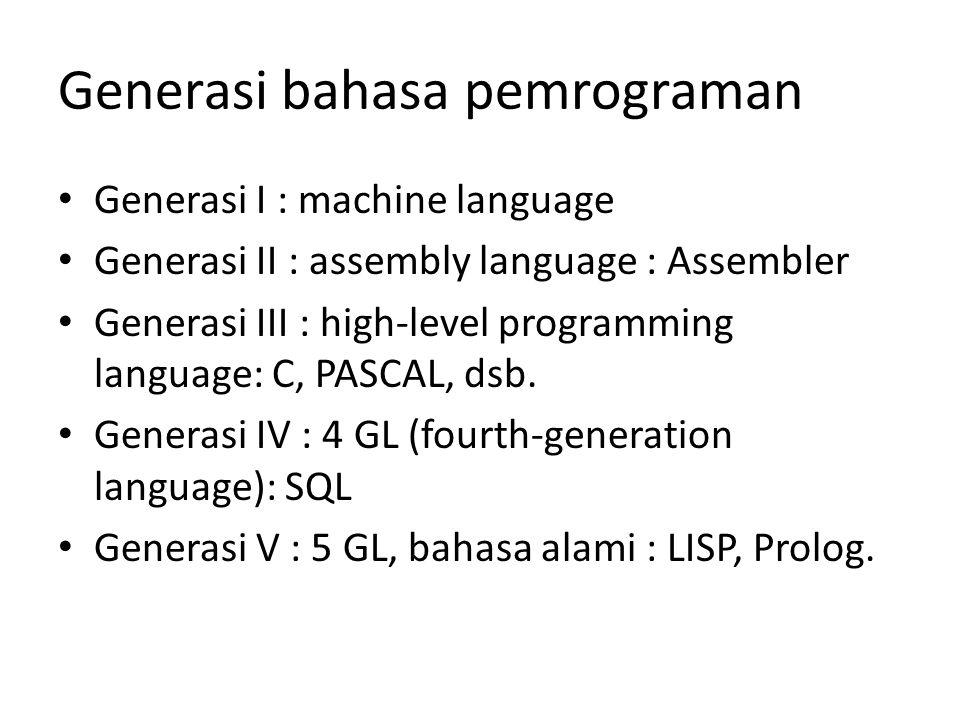Generasi bahasa pemrograman Generasi I : machine language Generasi II : assembly language : Assembler Generasi III : high-level programming language: