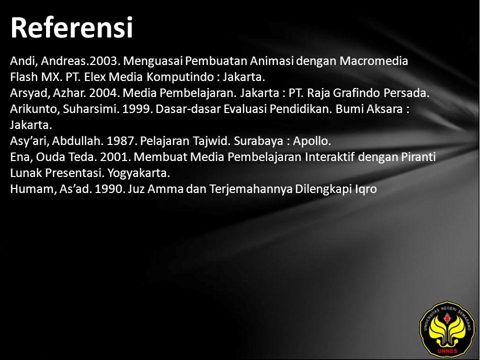 Referensi Andi, Andreas.2003. Menguasai Pembuatan Animasi dengan Macromedia Flash MX. PT. Elex Media Komputindo : Jakarta. Arsyad, Azhar. 2004. Media
