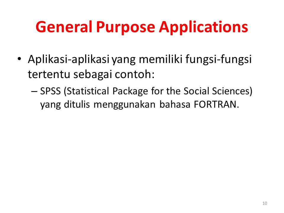 General Purpose Applications Aplikasi-aplikasi yang memiliki fungsi-fungsi tertentu sebagai contoh: – SPSS (Statistical Package for the Social Science