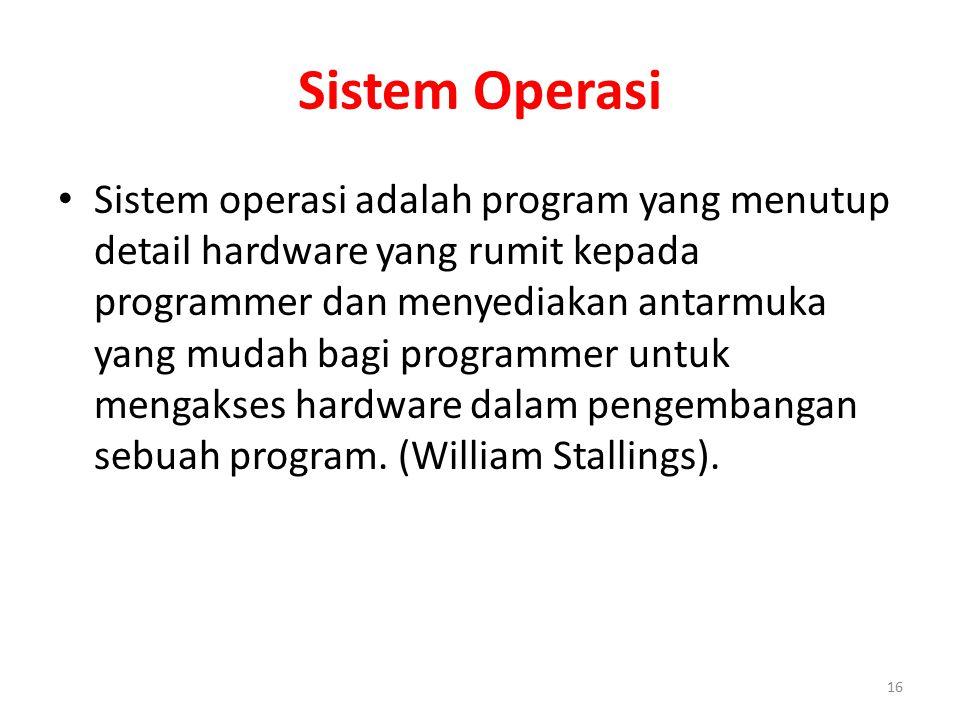 Sistem Operasi Sistem operasi adalah program yang menutup detail hardware yang rumit kepada programmer dan menyediakan antarmuka yang mudah bagi progr