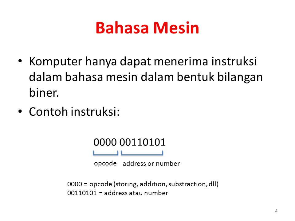 Bahasa Mesin Komputer hanya dapat menerima instruksi dalam bahasa mesin dalam bentuk bilangan biner. Contoh instruksi: 4 0000 00110101 0000 = opcode (