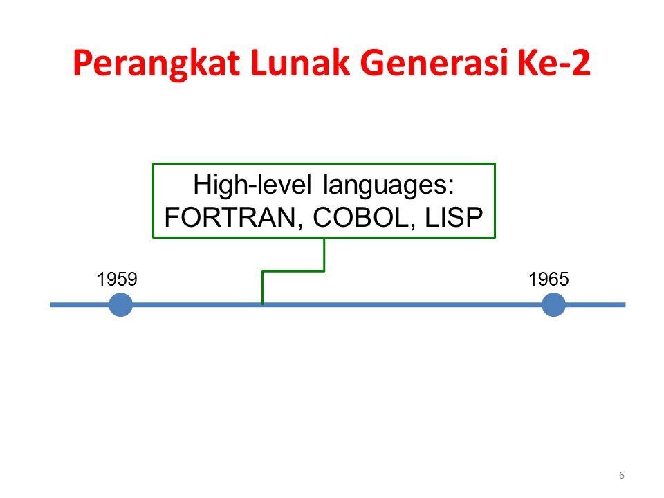 Perangkat Lunak Generasi Ke-2 1959 1965 High-level languages: FORTRAN, COBOL, LISP 6