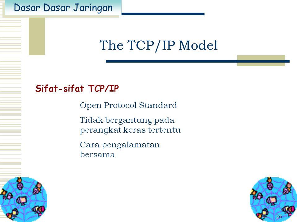 Dasar Dasar Jaringan 25 The TCP/IP Model Dibuat dan dikembangkan oleh Departmen Pertahanan Amerika Merupakan protokol yang dipakai pada Internet