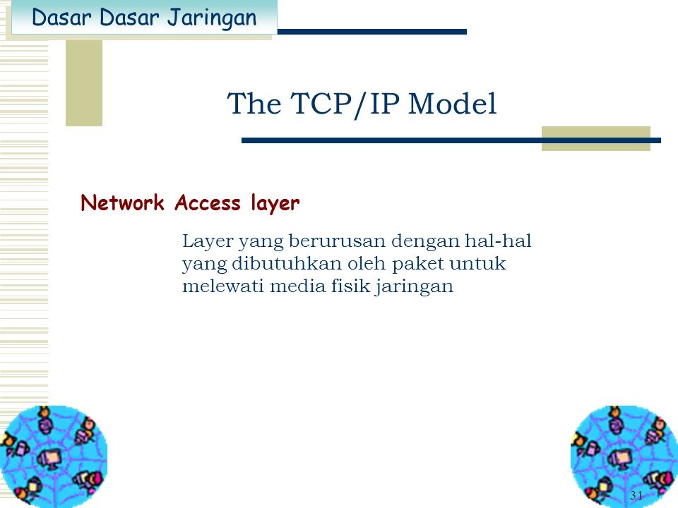Dasar Dasar Jaringan 30 The TCP/IP Model Internet layer Mengirimkan paket dengan penentuan jalur terbaik ( best path determination ). IP (Internet Pro