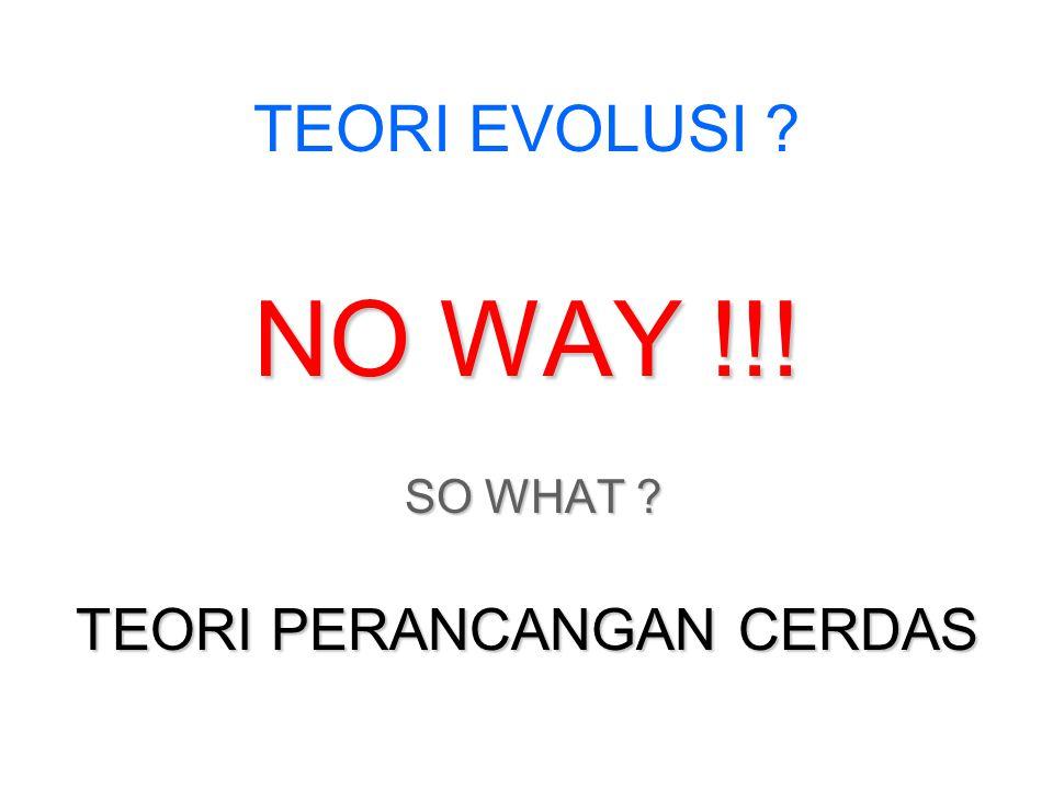 TEORI EVOLUSI ? NO WAY !!! SO WHAT ? SO WHAT ? TEORI PERANCANGAN CERDAS