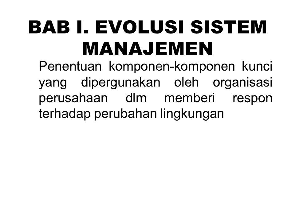 BAB I. EVOLUSI SISTEM MANAJEMEN Penentuan komponen-komponen kunci yang dipergunakan oleh organisasi perusahaan dlm memberi respon terhadap perubahan l