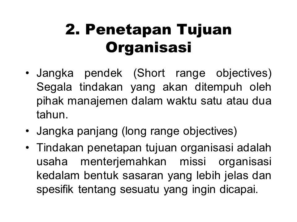 2. Penetapan Tujuan Organisasi Jangka pendek (Short range objectives) Segala tindakan yang akan ditempuh oleh pihak manajemen dalam waktu satu atau du
