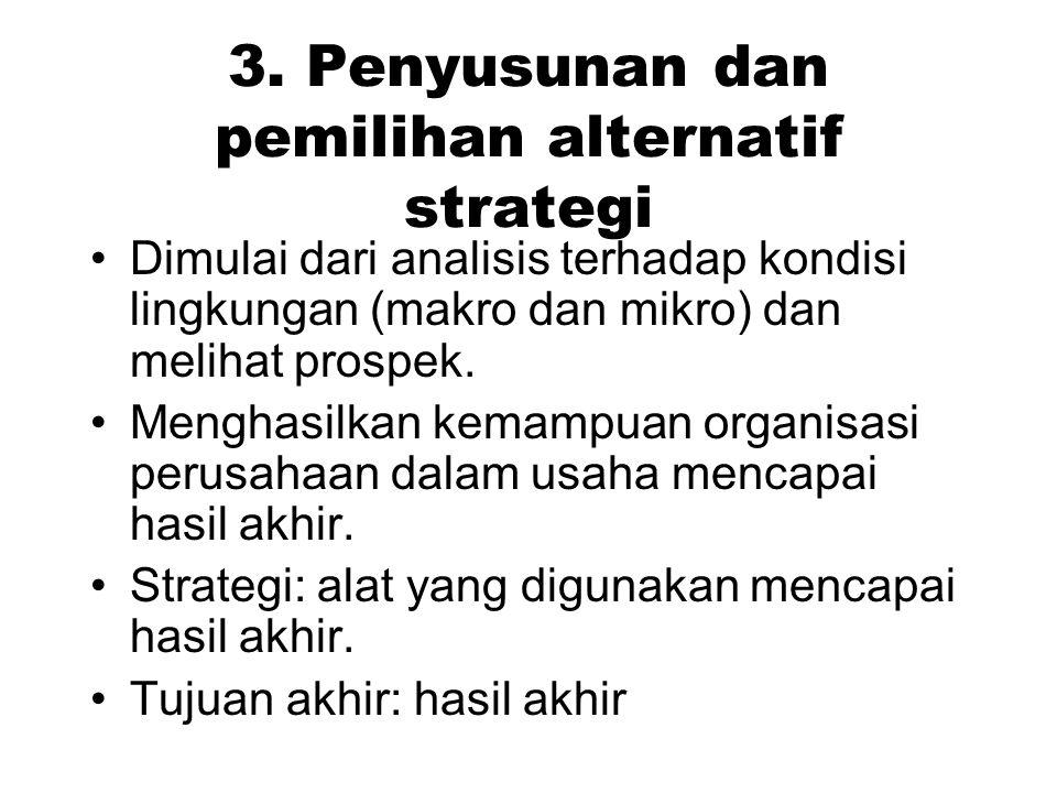 3. Penyusunan dan pemilihan alternatif strategi Dimulai dari analisis terhadap kondisi lingkungan (makro dan mikro) dan melihat prospek. Menghasilkan