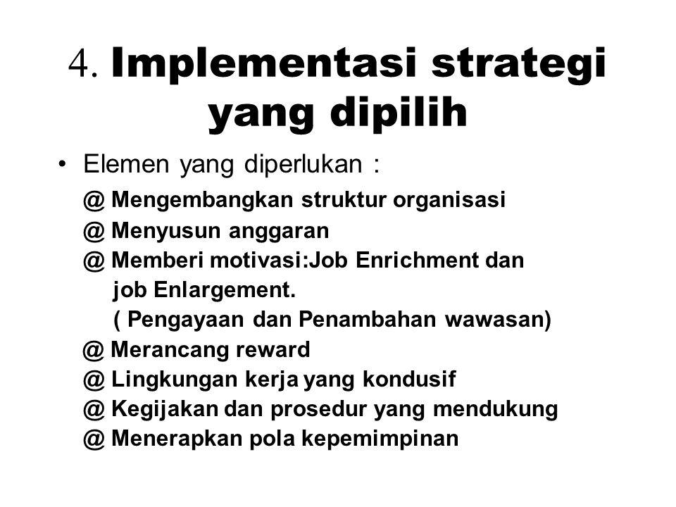 4. Implementasi strategi yang dipilih Elemen yang diperlukan : @ Mengembangkan struktur organisasi @ Menyusun anggaran @ Memberi motivasi:Job Enrichme