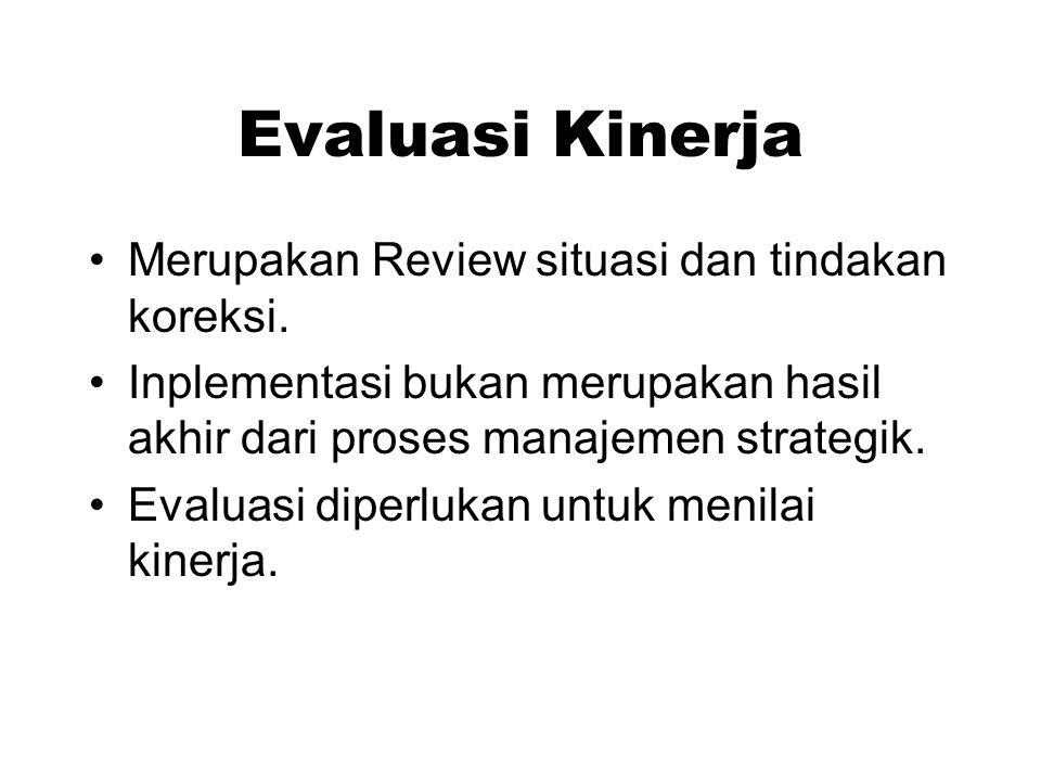 Evaluasi Kinerja Merupakan Review situasi dan tindakan koreksi. Inplementasi bukan merupakan hasil akhir dari proses manajemen strategik. Evaluasi dip