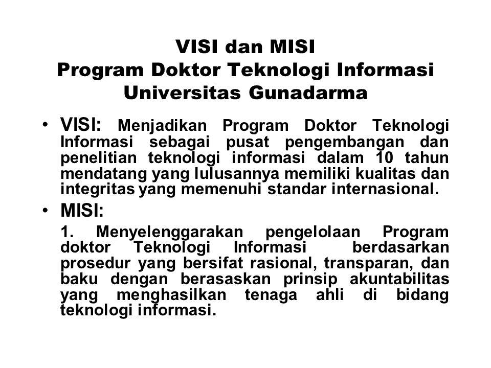 VISI dan MISI Program Doktor Teknologi Informasi Universitas Gunadarma VISI: Menjadikan Program Doktor Teknologi Informasi sebagai pusat pengembangan dan penelitian teknologi informasi dalam 10 tahun mendatang yang lulusannya memiliki kualitas dan integritas yang memenuhi standar internasional.