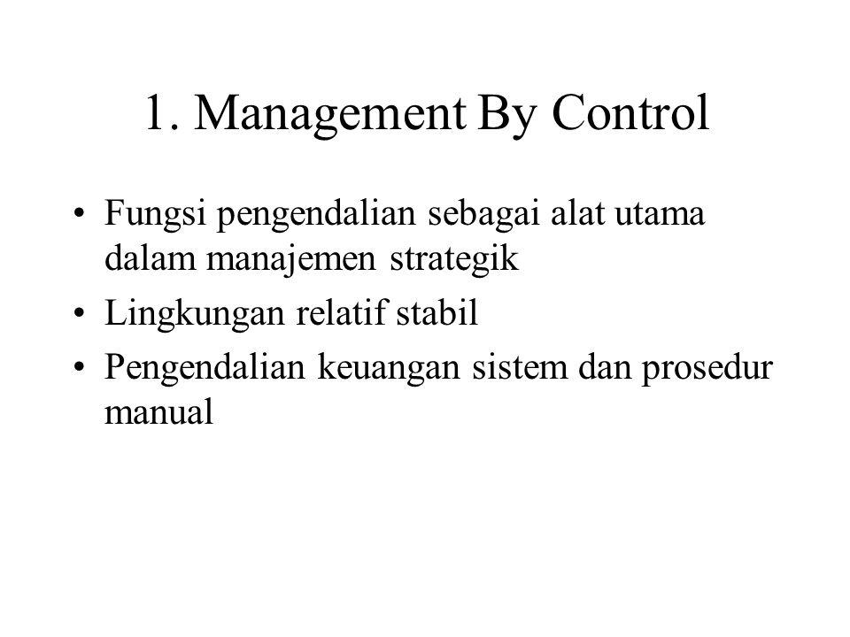1. Management By Control Fungsi pengendalian sebagai alat utama dalam manajemen strategik Lingkungan relatif stabil Pengendalian keuangan sistem dan p