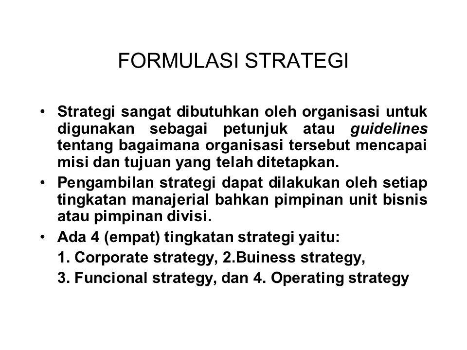 FORMULASI STRATEGI Strategi sangat dibutuhkan oleh organisasi untuk digunakan sebagai petunjuk atau guidelines tentang bagaimana organisasi tersebut mencapai misi dan tujuan yang telah ditetapkan.