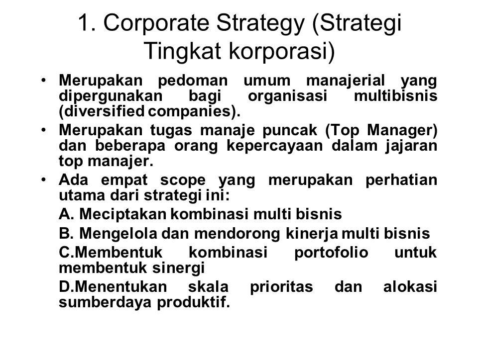 1. Corporate Strategy (Strategi Tingkat korporasi) Merupakan pedoman umum manajerial yang dipergunakan bagi organisasi multibisnis (diversified compan
