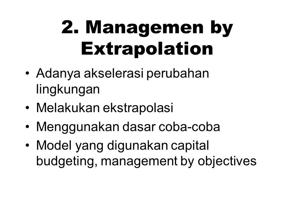 2. Managemen by Extrapolation Adanya akselerasi perubahan lingkungan Melakukan ekstrapolasi Menggunakan dasar coba-coba Model yang digunakan capital b