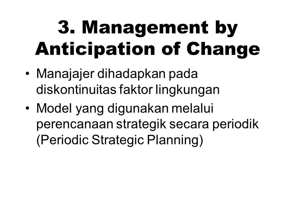 3. Management by Anticipation of Change Manajajer dihadapkan pada diskontinuitas faktor lingkungan Model yang digunakan melalui perencanaan strategik