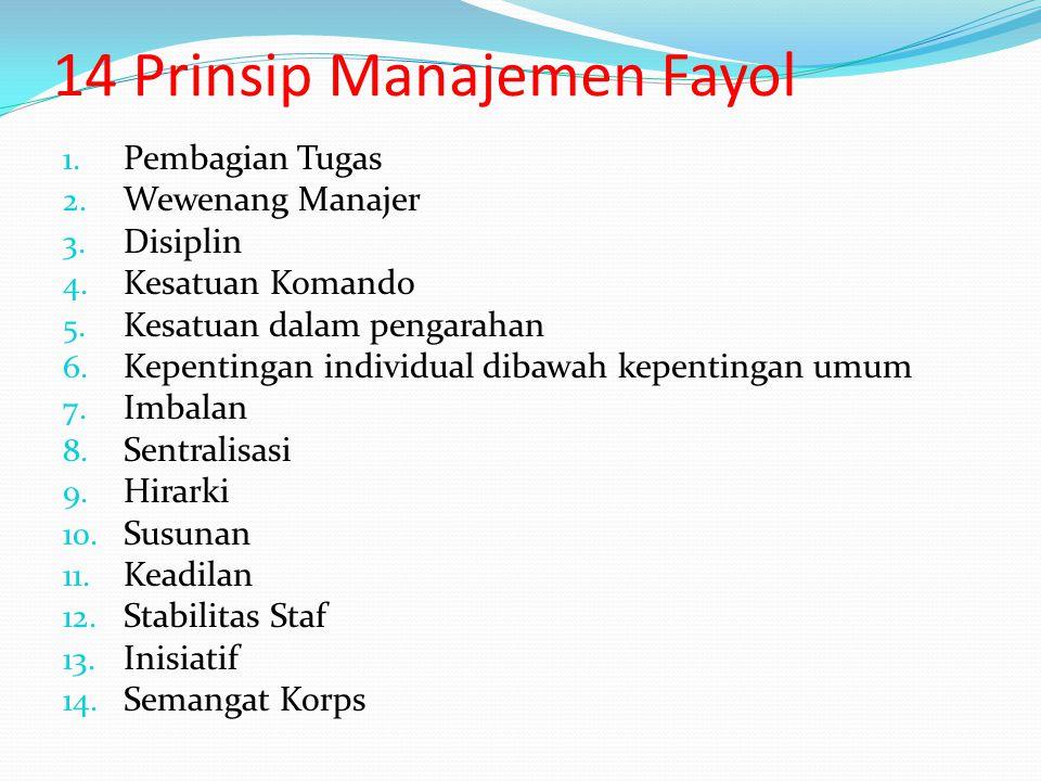 Henry Fayol Fayol berpendapat bahwa praktek manajemen yang mantap mempunyai pola tertentu yang dapat diidentifikasi dan dianalisa 14 prinsip manajemen