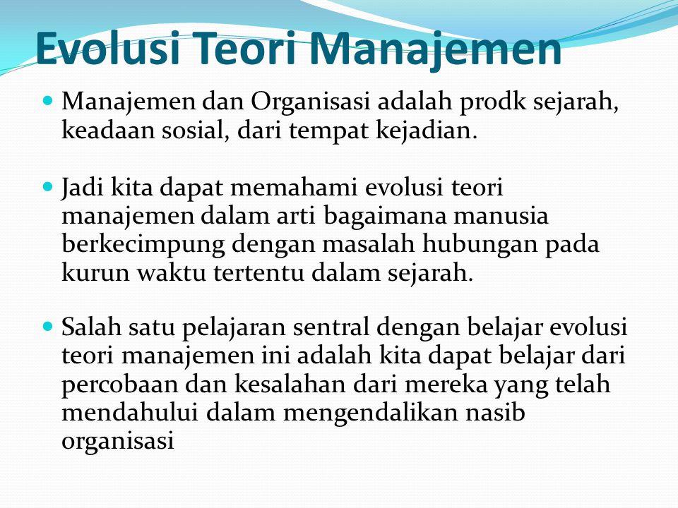Evolusi Teori Manajemen Manajemen dan Organisasi adalah prodk sejarah, keadaan sosial, dari tempat kejadian.