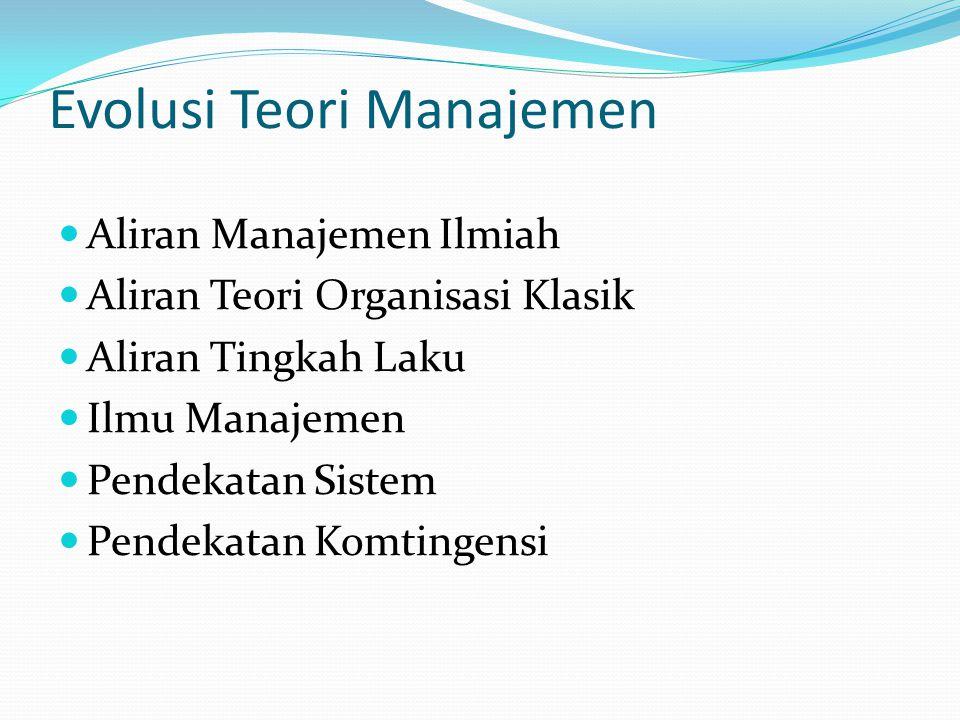 Evolusi Teori Manajemen Manajemen dan Organisasi adalah prodk sejarah, keadaan sosial, dari tempat kejadian. Jadi kita dapat memahami evolusi teori ma