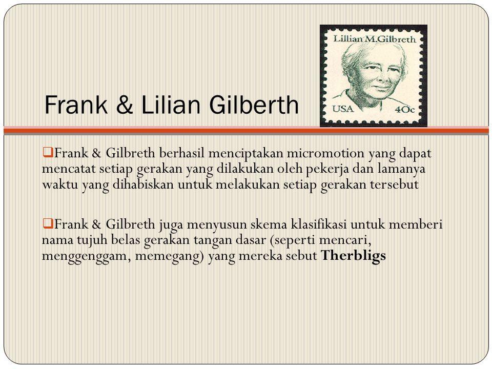 Frank & Lilian Gilberth  Frank & Gilbreth berhasil menciptakan micromotion yang dapat mencatat setiap gerakan yang dilakukan oleh pekerja dan lamanya