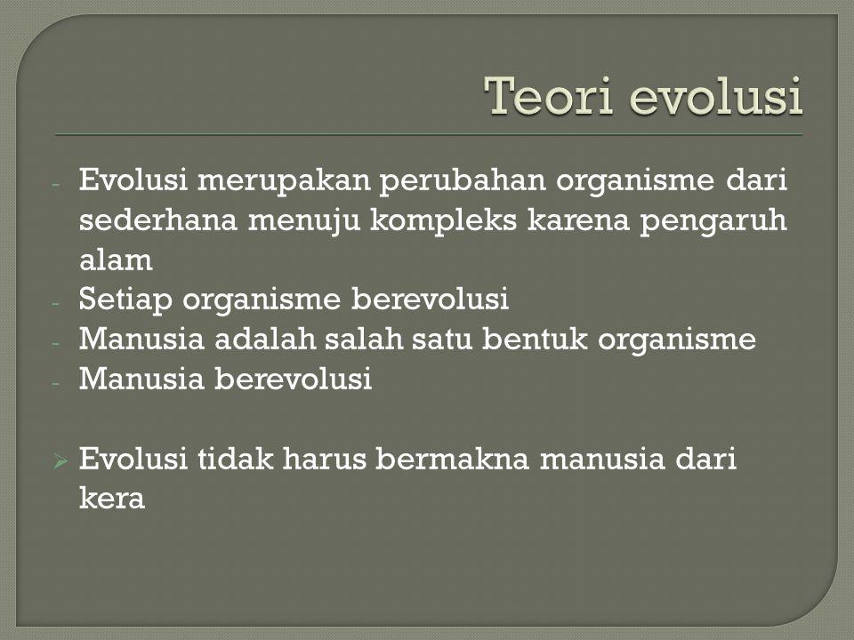 - Evolusi merupakan perubahan organisme dari sederhana menuju kompleks karena pengaruh alam - Setiap organisme berevolusi - Manusia adalah salah satu