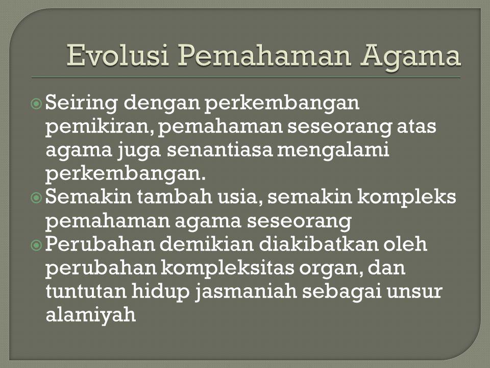  Seiring dengan perkembangan pemikiran, pemahaman seseorang atas agama juga senantiasa mengalami perkembangan.  Semakin tambah usia, semakin komplek