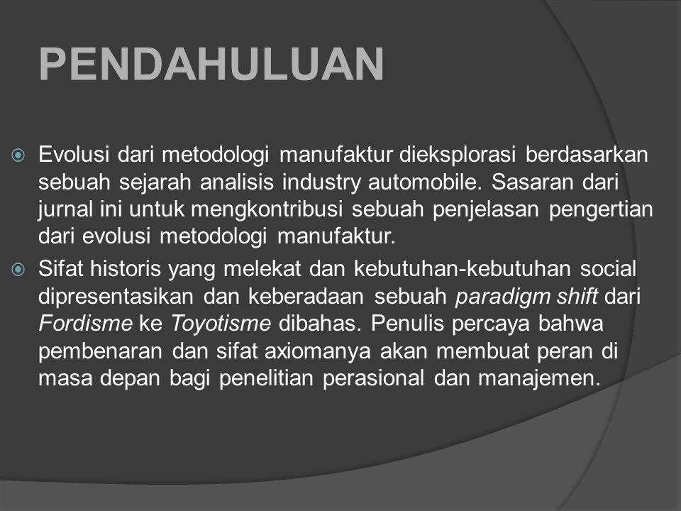 PENDAHULUAN  Evolusi dari metodologi manufaktur dieksplorasi berdasarkan sebuah sejarah analisis industry automobile.