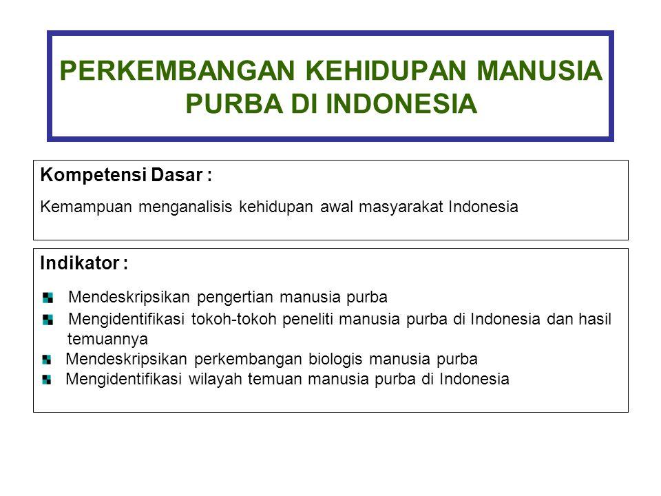 PERKEMBANGAN KEHIDUPAN MANUSIA PURBA DI INDONESIA Kompetensi Dasar : Kemampuan menganalisis kehidupan awal masyarakat Indonesia Indikator : Mendeskrip