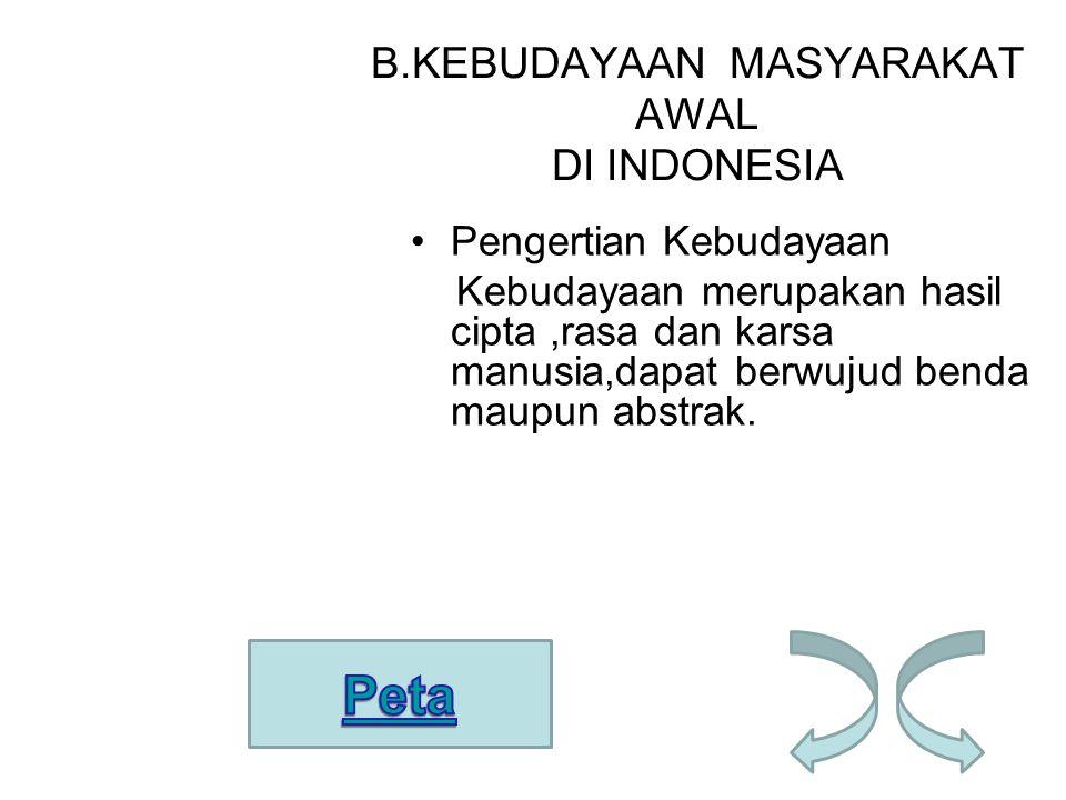 B.KEBUDAYAAN MASYARAKAT AWAL DI INDONESIA Pengertian Kebudayaan Kebudayaan merupakan hasil cipta,rasa dan karsa manusia,dapat berwujud benda maupun ab