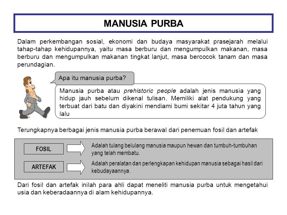 MANUSIA PURBA Dalam perkembangan sosial, ekonomi dan budaya masyarakat prasejarah melalui tahap-tahap kehidupannya, yaitu masa berburu dan mengumpulka