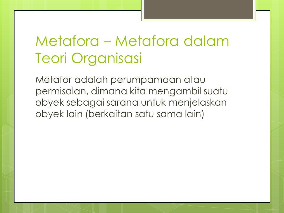 Metafora – Metafora dalam Teori Organisasi Metafor adalah perumpamaan atau permisalan, dimana kita mengambil suatu obyek sebagai sarana untuk menjelaskan obyek lain (berkaitan satu sama lain)