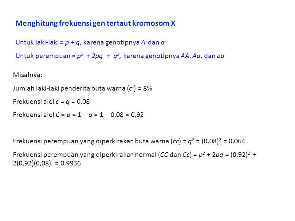 Menghitung frekuensi gen tertaut kromosom X Untuk laki-laki = p + q, karena genotipnya A - dan a - Untuk perempuan = p 2 + 2pq + q 2, karena genotipny