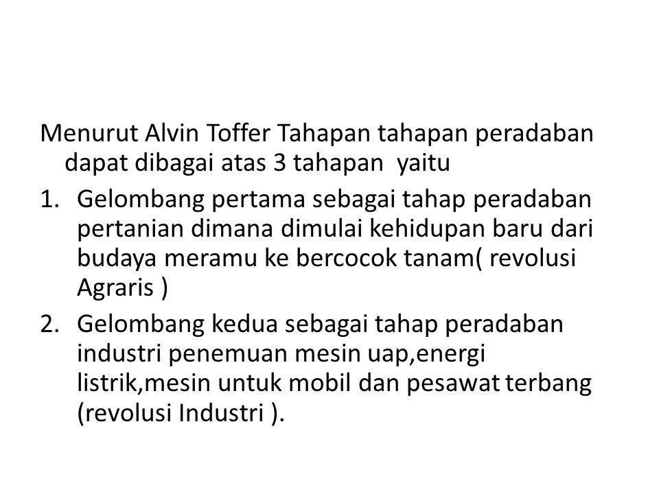 Menurut Alvin Toffer Tahapan tahapan peradaban dapat dibagai atas 3 tahapan yaitu 1.Gelombang pertama sebagai tahap peradaban pertanian dimana dimulai