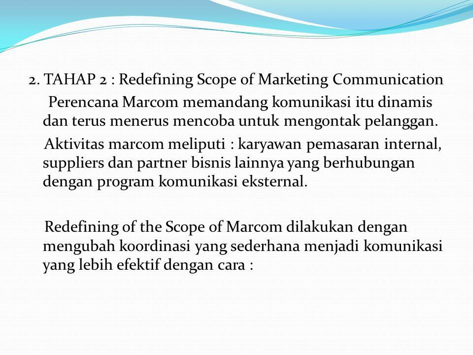 2. TAHAP 2 : Redefining Scope of Marketing Communication Perencana Marcom memandang komunikasi itu dinamis dan terus menerus mencoba untuk mengontak p