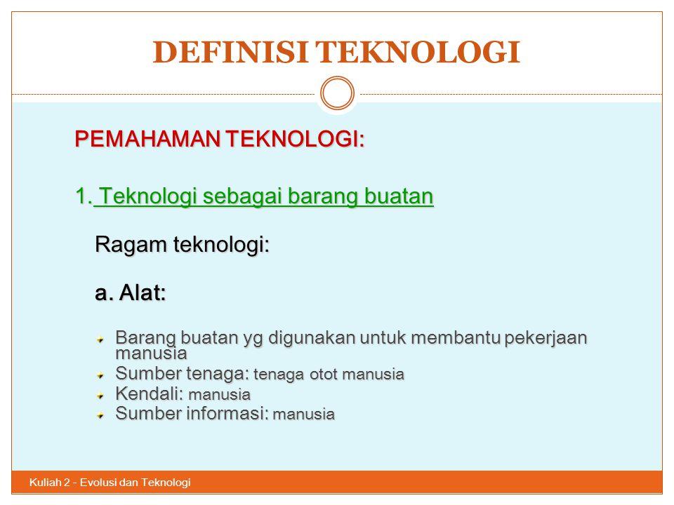 DEFINISI TEKNOLOGI Kuliah 2 - Evolusi dan Teknologi 24 PEMAHAMAN TEKNOLOGI: 1. Teknologi sebagai barang buatan Ragam teknologi: a. Alat: Barang buatan