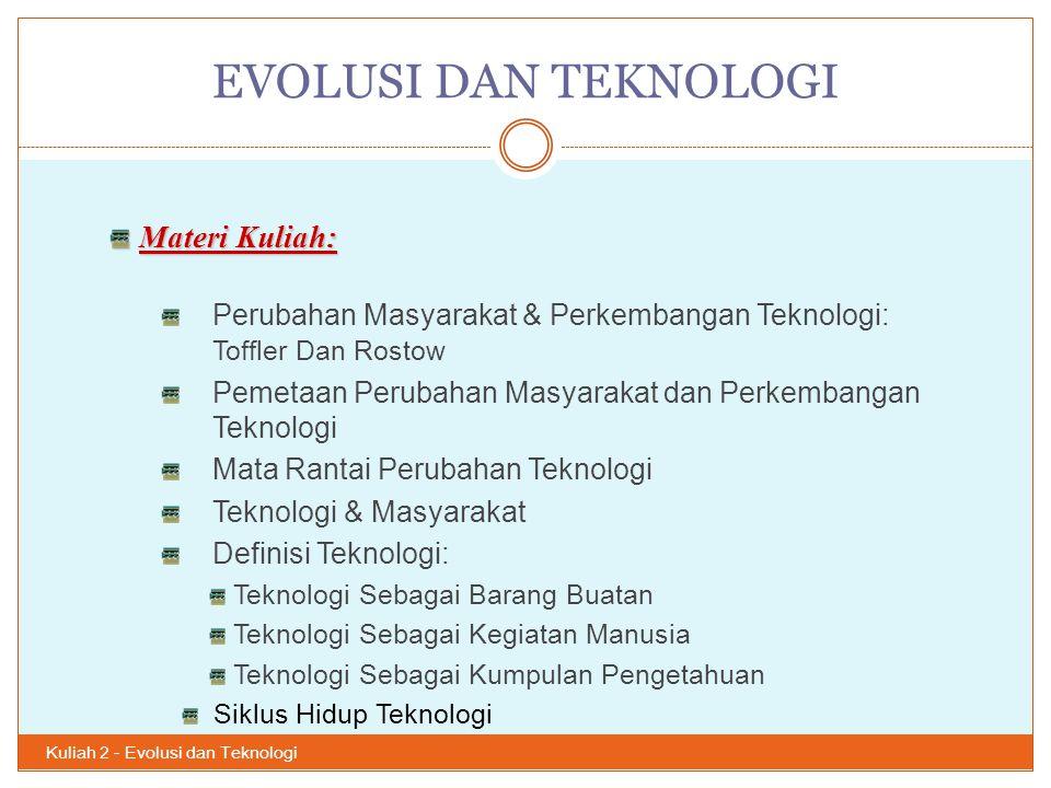 EVOLUSI DAN TEKNOLOGI Kuliah 2 - Evolusi dan Teknologi 3 Materi Kuliah: Perubahan Masyarakat & Perkembangan Teknologi: Toffler Dan Rostow Pemetaan Per