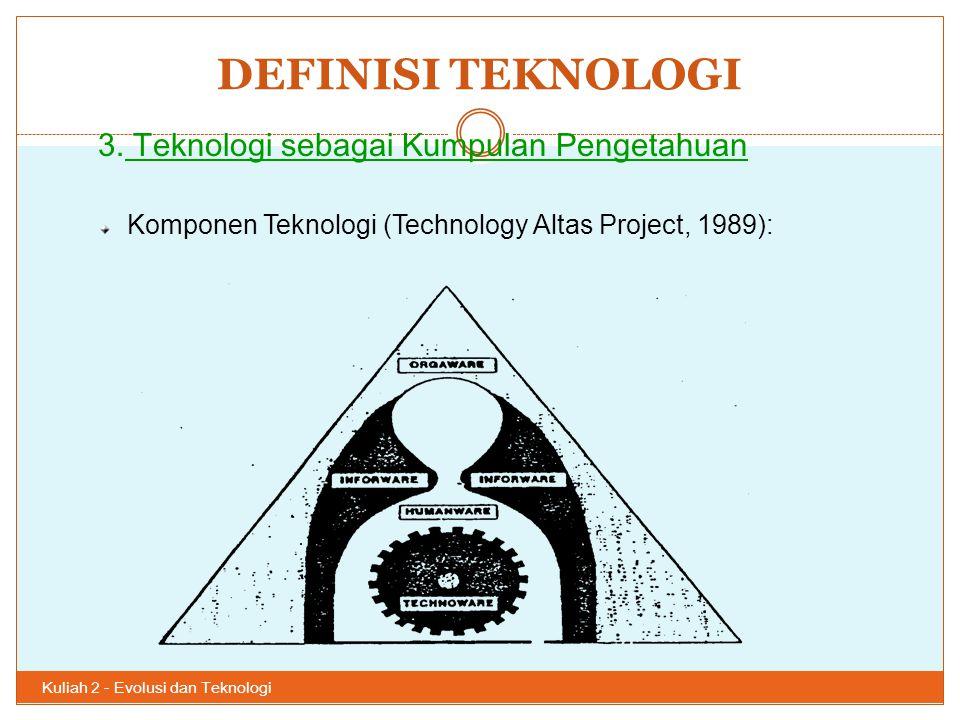 DEFINISI TEKNOLOGI Kuliah 2 - Evolusi dan Teknologi 36 3. Teknologi sebagai Kumpulan Pengetahuan Komponen Teknologi (Technology Altas Project, 1989):