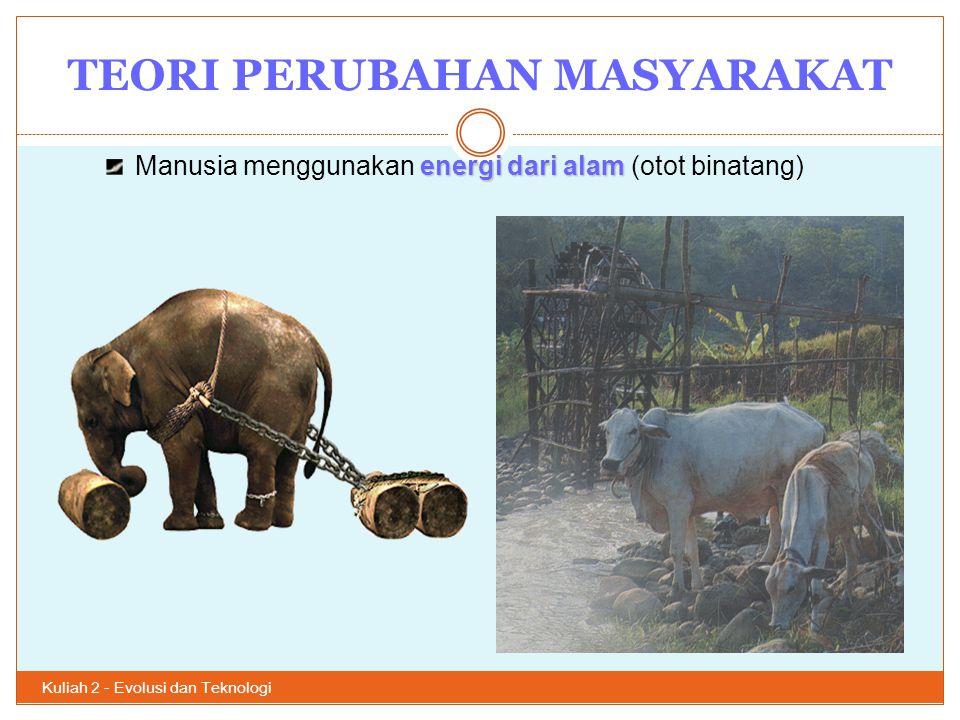 TEORI PERUBAHAN MASYARAKAT Kuliah 2 - Evolusi dan Teknologi 18 2.