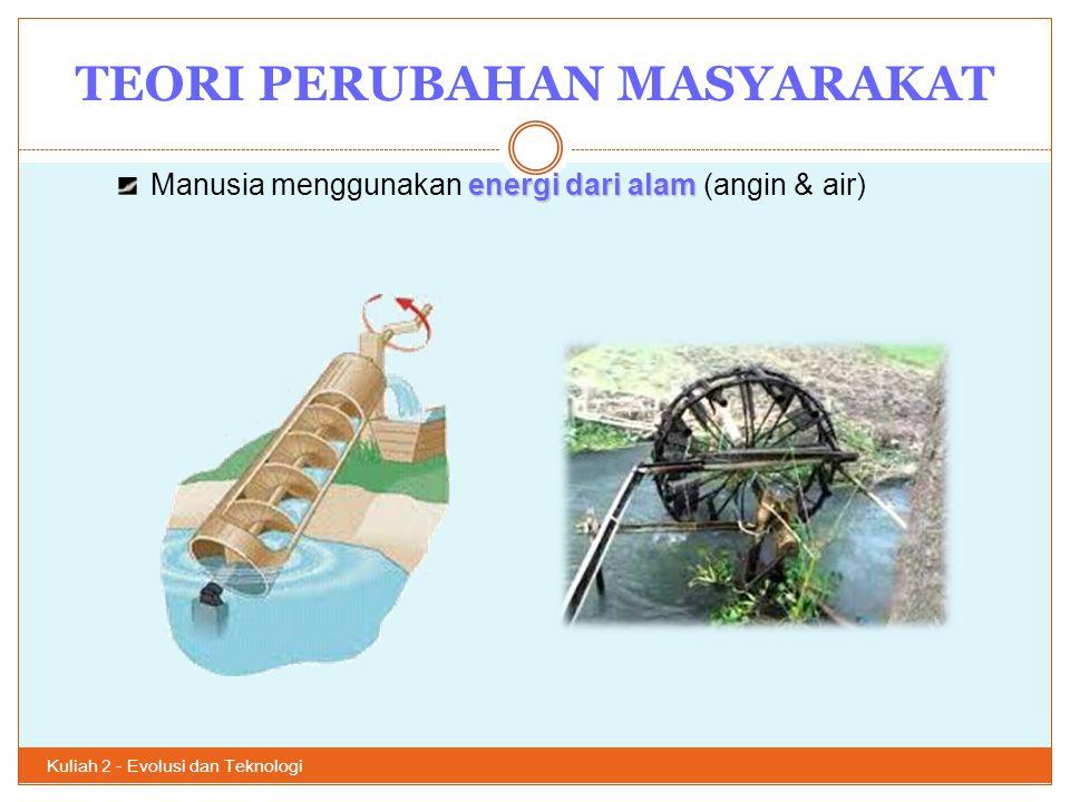 TEORI PERUBAHAN MASYARAKAT Kuliah 2 - Evolusi dan Teknologi 19 4.
